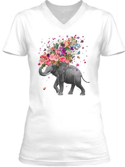 Elephant Splash V Neck White T-Shirt Front