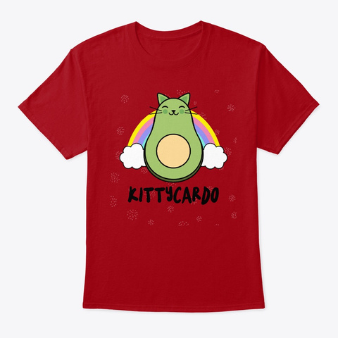 Cats,Avocado Funny Kitty Rainbow Gift Deep Red T-Shirt Front
