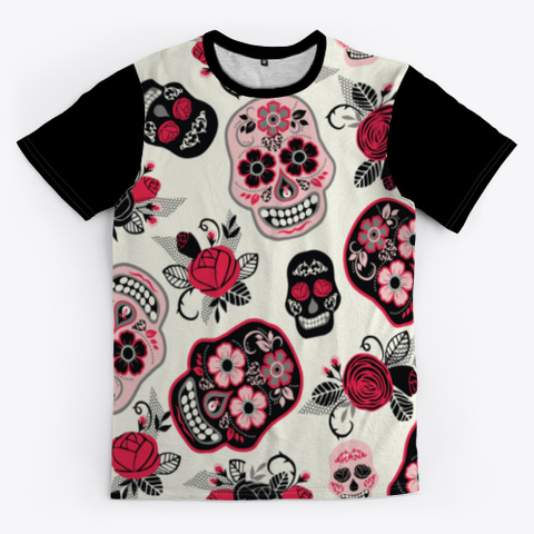 Sugar Skull Day Of The Dead Outfit Black T-Shirt Front