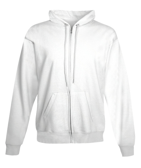 Polycount Zip Hoodie Back White Sweatshirt Front