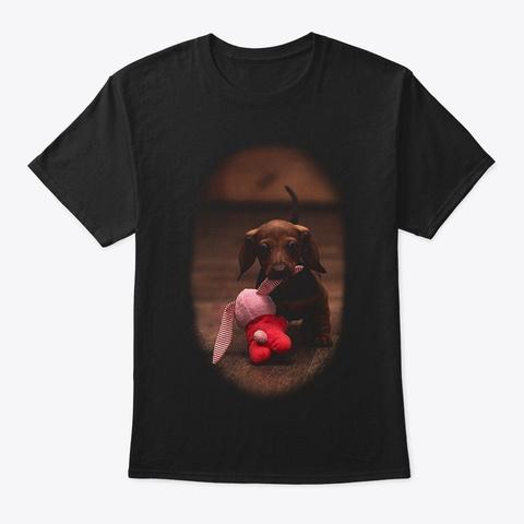The Chocolate Dachshund Black T-Shirt Front