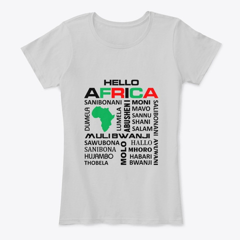 Hello Africa Light Heather Grey T-Shirt Front