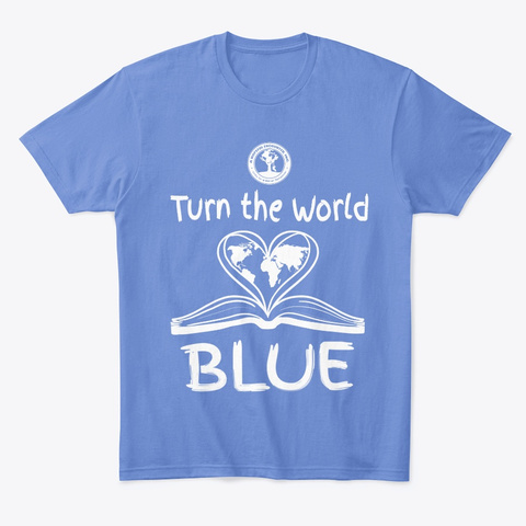 Turn The World Blue Heathered Royal  T-Shirt Front
