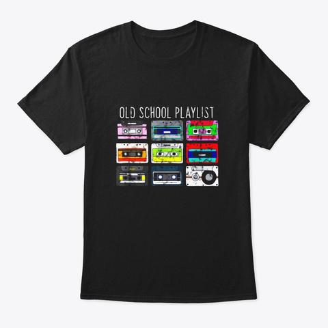 Vintage Retro Music Cassette Tapes Black T-Shirt Front