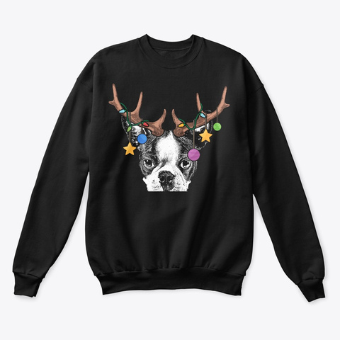 Boston Terrier Christmas Ornaments Black T-Shirt Front