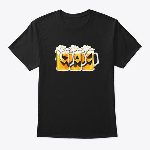 Halloween Jack O Lantern Beer Mugs Dri  Black T-Shirt Front