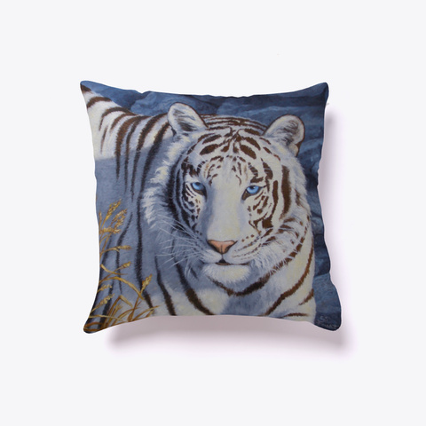 White Tiger With Blue Eyes Pillow White T-Shirt Front