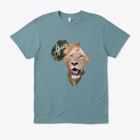 Africa With Lion Fill Heather Pacific T-Shirt Front