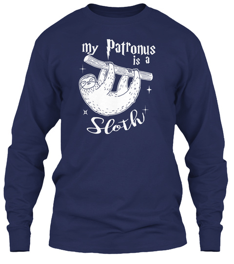 My Patronus Is A Sloth Navy T-Shirt Front