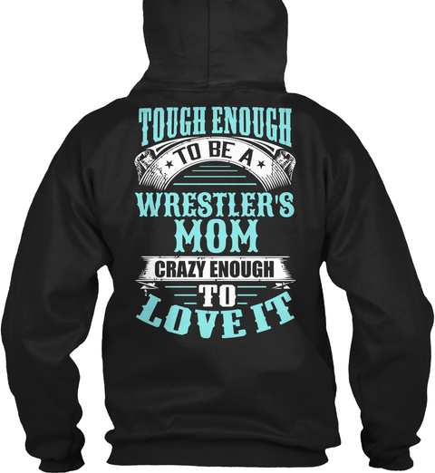Wrestlers Mom Black T-Shirt Back