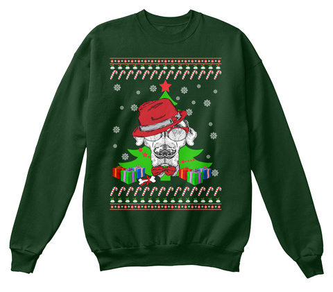 English Pointer Ugly Christmas Sweater Deep Forest  T-Shirt Front