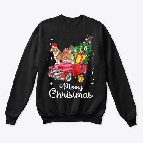 Corgi Christmas Sweater Shirt Black T-Shirt Front
