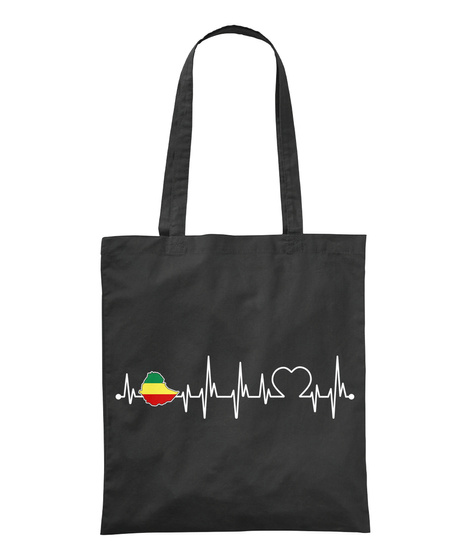 Ethiopia Always In My Heartbeat Black T-Shirt Front