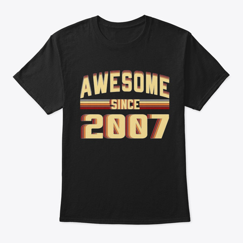Awesome Since 2007, 12 Years Old Black T-Shirt Front
