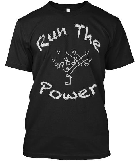 Run The Power Black T-Shirt Front