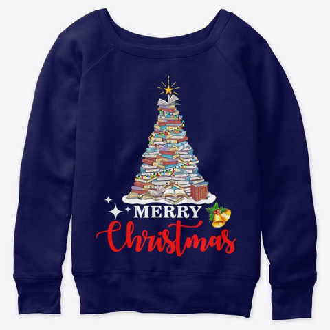 Merry Christmas Tree Love Reading Books Navy  T-Shirt Front