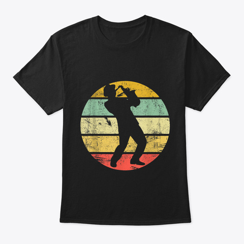 Saxophone Shirt Vintage Musician Player  Black T-Shirt Front