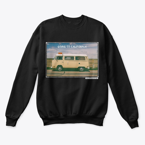 """Crew Neck: """"Going To California"""" Black T-Shirt Front"""