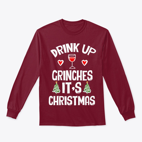 Ugly Christmas Clothings Xmas And Wine Cardinal Red T-Shirt Front