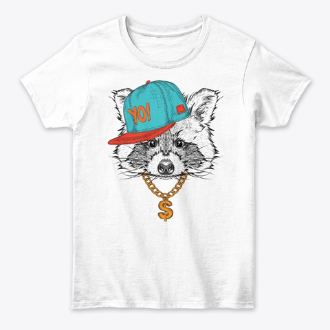 Hipster Raccoon Tee White T-Shirt Front
