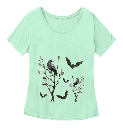 Birds And Bats   Halloween Mint  T-Shirt Front