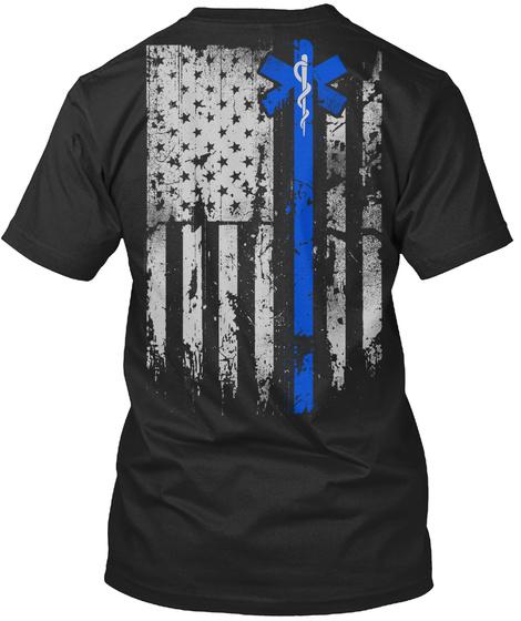 Blue Line Of Courage  Black T-Shirt Back