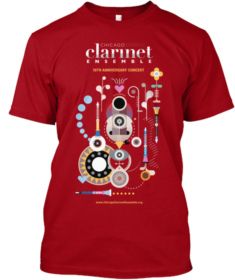 Chicago Clarinet E N S E Mble 10th  Anniversary Concert Deep Red T-Shirt Front