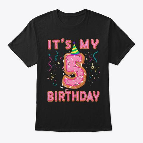 Cute Donut It's My 5th Birthday Sweet 5  Black T-Shirt Front