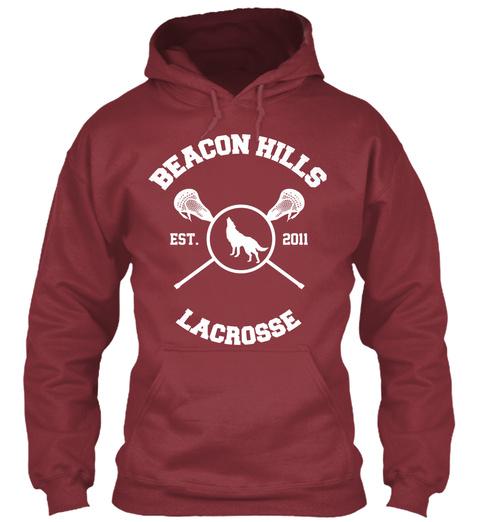 Beacon Hills Est 2011 Lacrosse Maroon T-Shirt Front