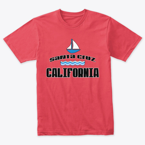Santa Cruz California Sail Boat Vintage Red T-Shirt Front