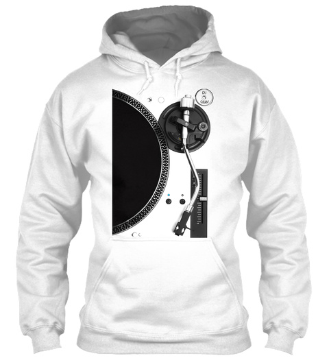 Dj Gram Turntable Hoodie White T-Shirt Front
