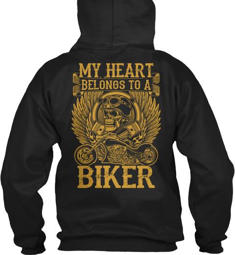 My Heart Belongs To A Biker Black T-Shirt Back
