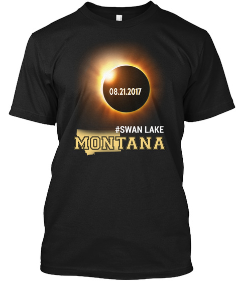 Eclipse Swan Lake Mt. Customizable City Black T-Shirt Front
