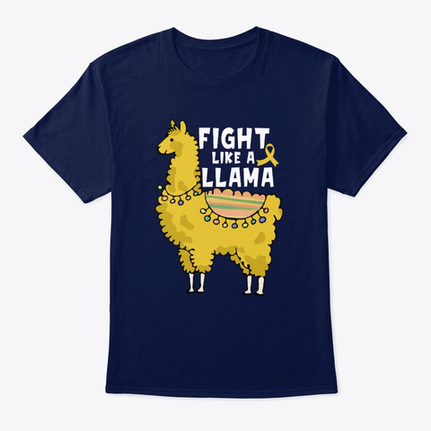 Childhood Cancer   Fight Like A Llama Navy T-Shirt Front