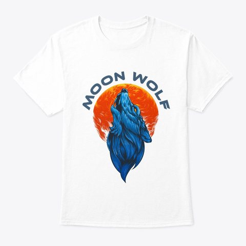Moon Wolf White T-Shirt Front