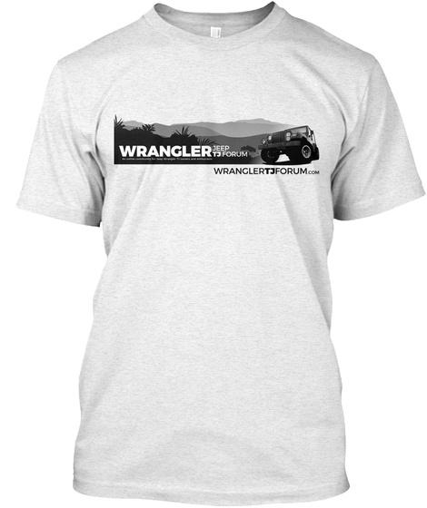 Jeep Wrangler Tj Forum (B/W Logo, White) Heather White T-Shirt Front