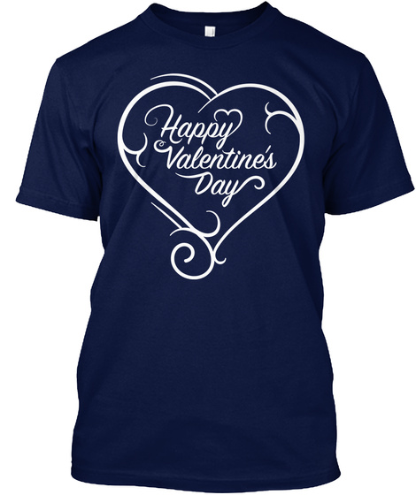 Happy Valentine's Day Navy T-Shirt Front
