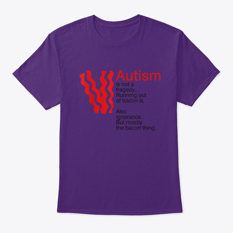 Autism Is Not A Tragedy Running Out Of B Purple T-Shirt Front