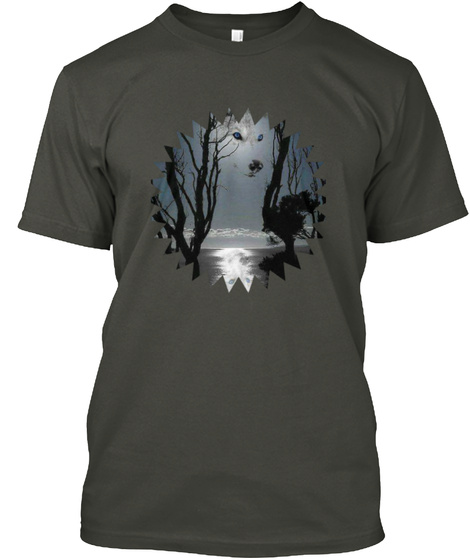Awesome White Wolf Smoke Gray T-Shirt Front