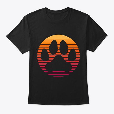 Retro Sunset Dog Paw   Black T-Shirt Front