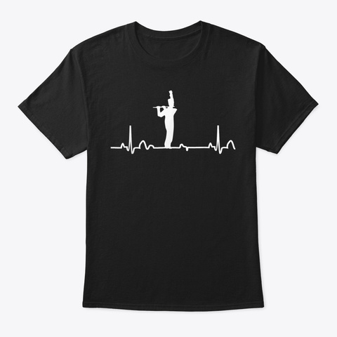 Flute Heartbeat Shirt Marching Band Appa Black T-Shirt Front