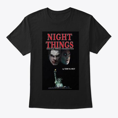 Night Things Dracula Vs Frankenstein Tee Black T-Shirt Front