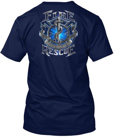 Fire Rescue Beautiful T Shirt Navy T-Shirt Back