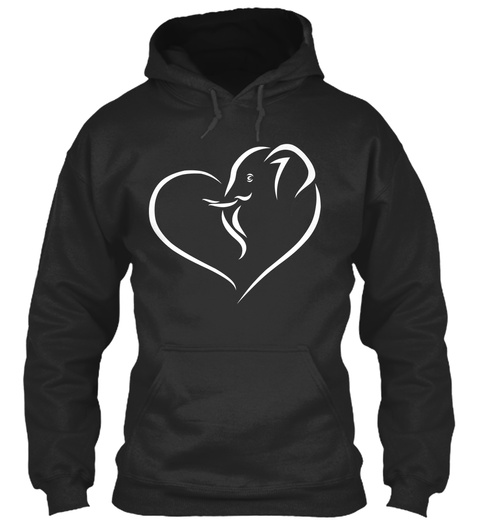 Heart Elephant Jet Black Sweatshirt Front