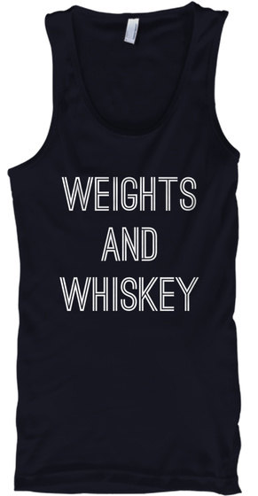 Weights And Whiskey Navy Tank Top Front