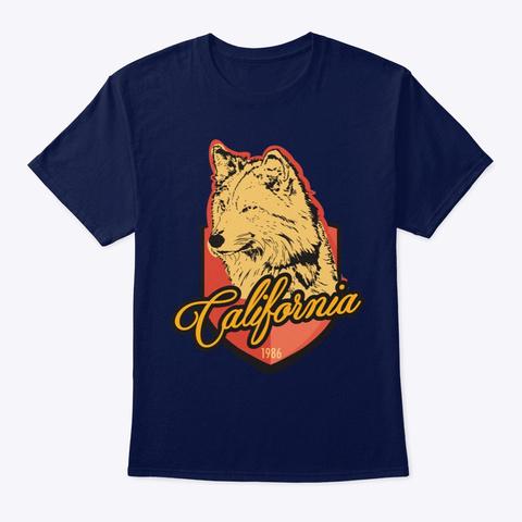 California Wolf Navy T-Shirt Front