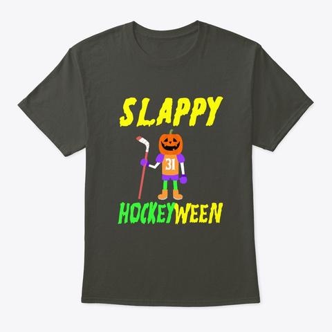 Slappy Hockeyween Halloween Hockey Smoke Gray T-Shirt Front