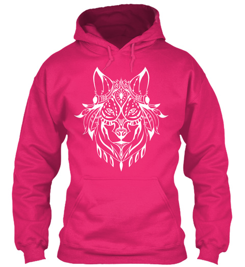 Ethnic White Wolf Hoodie Heliconia T-Shirt Front