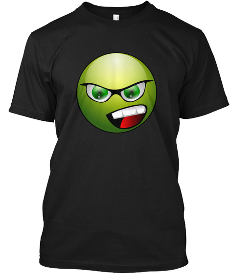 Green Smiley Tee Black T-Shirt Front