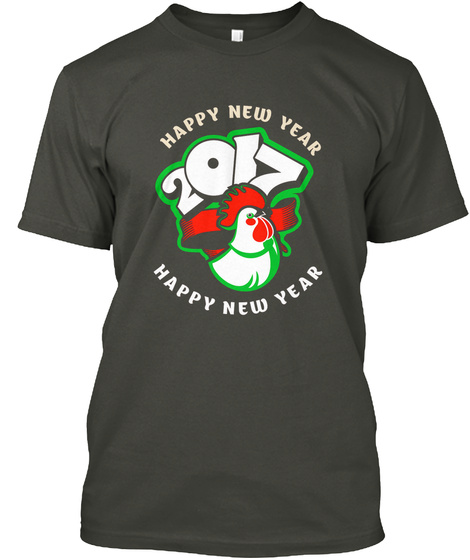 Happy New Year 2017 Happy New Year Smoke Gray T-Shirt Front
